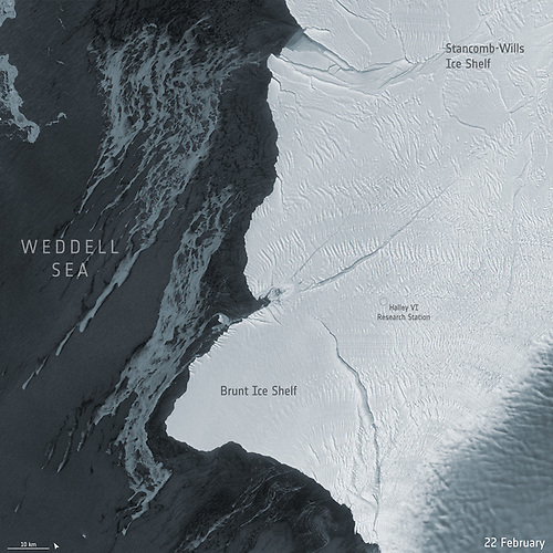 Many cracks and chasms that have formed in the 150 m thick Brunt ice shelf in recent years