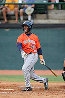 Designated hitter Hector Roa (43) of the Greeneville Astros bats in a game against the Bristol Pirates on Saturday, July 26, 2014, at DeVault Memorial Stadium in Bristol, Virginia. Greeneville won, 2-1 in Game 1 of a doubleheader. (Tom Priddy/Four Seam Images)