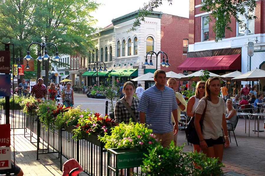 Downtown Charlottesville walking mall in Albemarle County, VA. Photo/Andrew Shurtleff