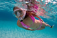 Snorkeler swims over sandy bottom, Bonaire, Netherland Antilles, Caribbean Sea, Atlantic Ocean, MR