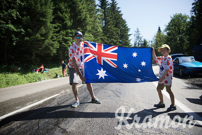 Ossie fans a long way from home up the final climb to Chamrousse<br /> <br /> 2014 Tour de France<br /> stage 13: Saint-Etiènne - Chamrousse (197km)