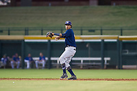 AZL Brewers shortstop Yeison Coca (7) warms up between innings during a game against the AZL Cubs on August 6, 2017 at Sloan Park in Mesa, Arizona. AZL Cubs defeated the AZL Brewers 8-7. (Zachary Lucy/Four Seam Images)