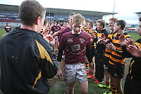 CAI vs RBAI | Tuesday 3rd March 2015<br /> <br /> Peter Bonnar leads CAI off the pitch after the 2015 Ulster Schools Cup Semi-Final between Coleraine Inst and RBAI at the Kingspan Stadium, Ravenhill Park, Belfast, Northern Ireland.<br /> <br /> Picture credit: John Dickson / DICKSONDIGITAL