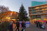 """Pictured: The Christmas Tree in Swansea, Wales, UK. Sunday 19 November 2018<br /> Re: Swansea Christmas parade attended by thousands has been branded a """"shambles"""" for having just three floats.<br /> The annual festive event in south Wales, which took place on Sunday, promised """"dynamic dance-troupes"""" as well as """"spectacular shows and stages"""".<br /> But the parade was scaled down, leading to a barrage of criticism on social media because of roadworks in the city centre. <br /> The leader of Swansea Council, Rob Stewart apologised on Facebook and said the parade was not """"good enough"""".<br /> Parents took on social media to voice their anger, calling the event """"a load of rubbish"""" and claiming there was nothing for young children apart from """"a loud music float with Santa on""""."""
