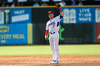 Tennessee Smokies shortstop Andy Weber (7) on defense against the Rocket City Trash Pandas at Smokies Stadium on July 2, 2021, in Kodak, Tennessee. (Danny Parker/Four Seam Images)