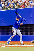 25 March 2019: Toronto Blue Jays first baseman Justin Smoak at bat during an exhibition game against the Milwaukee Brewers at Olympic Stadium in Montreal, Quebec, Canada. The Brewers defeated the Blue Jays 10-5 in the first of two MLB pre-season games in the former home of the Montreal Expos. Mandatory Credit: Ed Wolfstein Photo *** RAW (NEF) Image File Available ***