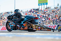 Oct 20, 2019; Ennis, TX, USA; NHRA pro stock motorcycle rider Jianna Salinas during the Fall Nationals at the Texas Motorplex. Mandatory Credit: Mark J. Rebilas-USA TODAY Sports