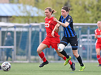 Yuna Appermont (6) of Standard  pictured in a duel with Debbie Decoene (21) of Club Brugge during a female soccer game between Club Brugge Dames YLA and Standard Femine de Liege on the seventh matchday in Play-Off 1 of the 2020 - 2021 season of Belgian Scooore Womens Super League , saturday 15 May 2021  in Brugge , Belgium . PHOTO SPORTPIX.BE | SPP | DAVID CATRY
