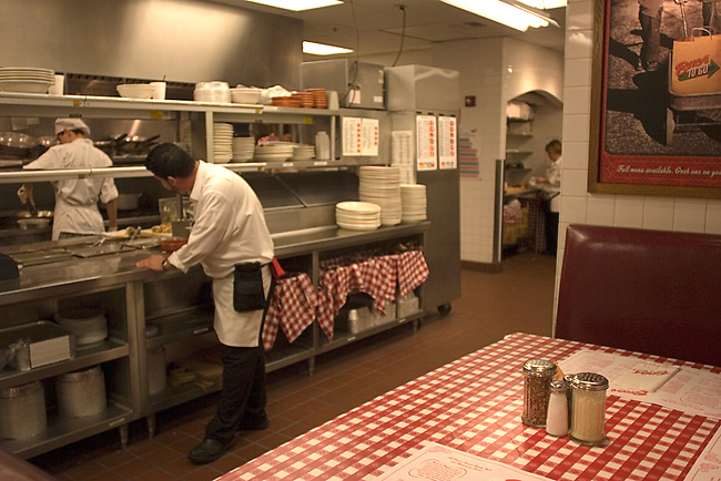 Dining table in Kitchen, Buca di Beppo Restaurant, Florida Mall, Orlando, Florida