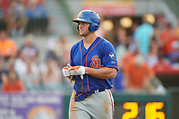 St. Lucie Mets left fielder Tim Tebow (15) walks to the dugout after the final out of the eighth inning during a game against the Florida Fire Frogs on July 23, 2017 at Osceola County Stadium in Kissimmee, Florida.  St. Lucie defeated Florida 3-2.  (Mike Janes/Four Seam Images)