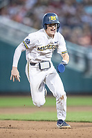 Michigan Wolverines shortstop Jack Blomgren (2) runs to third base against the Vanderbilt Commodores during Game 2 of the NCAA College World Series Finals on June 25, 2019 at TD Ameritrade Park in Omaha, Nebraska. Vanderbilt defeated Michigan 4-1. (Andrew Woolley/Four Seam Images)