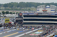 Apr. 15, 2012; Concord, NC, USA: NHRA pro stock drivers (left to right) Vincent Nobile , David Connelly , Greg Stanfield and Shane Gray all staged and ready to race four wide during the Four Wide Nationals at zMax Dragway. Mandatory Credit: Mark J. Rebilas-