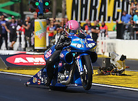 Mar. 16, 2013; Gainesville, FL, USA; NHRA pro stock motorcycle rider Angie Smith during qualifying for the Gatornationals at Auto-Plus Raceway at Gainesville. Mandatory Credit: Mark J. Rebilas-
