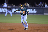 Siena Saints outfielder Dan Swain (22) leads off first during the opening game of the season against the UCF Knights on February 13, 2015 at Jay Bergman Field in Orlando, Florida.  UCF defeated Siena 4-1.  (Mike Janes/Four Seam Images)