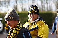 Oxford United fans wearing chats with pin up badges   during the Emirates FA Cup 3rd Round between Oxford United v Swansea     played at Kassam Stadium  on 10th January 2016 in Oxford