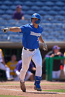 Memphis Tigers Alec Trela (29) hits a home run during a game against the East Carolina Pirates on May 25, 2021 at BayCare Ballpark in Clearwater, Florida.  (Mike Janes/Four Seam Images)
