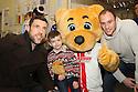 Jon Ashton, Borobear and David Gray<br /> Stevenage FC players visit Lister Hospital Children's ward.  <br />  - Lister Hospital, Stevenage - 18th December, 2013<br />  © Kevin Coleman 2013