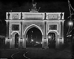 St Louis MO:  View of the exit gate at the Louisiana Purchase Exposition promoting the 1908 exposition.