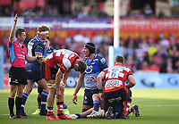 9th October 2021; Kingsholm Stadium, Gloucester, England; Gallagher Premiership Rugby, Gloucester versus Sale Sharks;  Referee Christophe Ridley awards a penalty to Gloucester