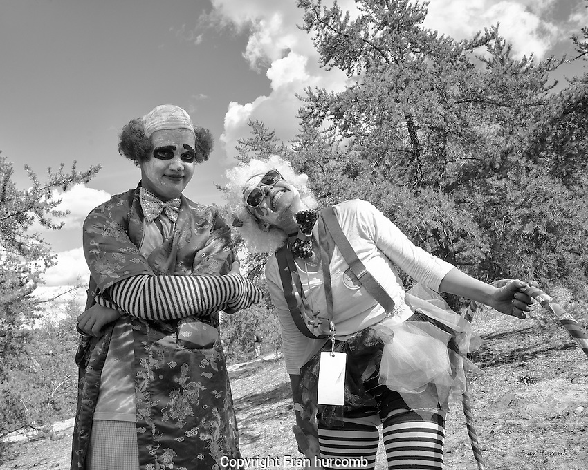 Clowns and clouds at Folk on the Rocks.