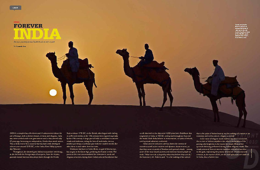 """""""India Forever"""" a 8 page article by Carmela Cruz (text is Copyright by Carmela Cruz)Photos by Gunther Deichmann where stated. The article can be re-published and is available upon request."""
