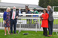 Connection of the Winner of The Venture Security Handicap Stakes Molly Shaw ridden by Jack Mitchell and trained by Chris Wall outside the Winners enclosure during Horse Racing at Salisbury Racecourse on 11th September 2020