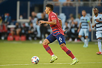 KANSAS CITY, KS - JULY 31: Edwin Cerrillo #6 FC Dallas with the ball during a game between FC Dallas and Sporting Kansas City at Children's Mercy Park on July 31, 2021 in Kansas City, Kansas.