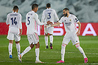 April 27th 2021; Alfredo Di Stefano Stadium, Madrid, Spain;  UEFA Champions League. Karim Benzema of Real Madrid celebrates scoring the equalising goal for 1-1 in the 29th minute with Raphael Varane of Real Madrid