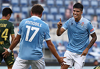 Football, Serie A: S.S. Lazio - Brescia, Olympic stadium, Rome, July 29, 2020. <br /> Lazio's Carlos Joaquin Correa (r) celebrates after scoring with his teammate Ciro Immobile (l)  during the Italian Serie A football match between S.S. Lazio and Brescia at Rome's Olympic stadium, Rome, on July 29, 2020. <br /> UPDATE IMAGES PRESS/Isabella Bonotto