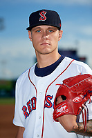 Salem Red Sox pitcher Tanner Houck (49) poses for a photo before a game against the Lynchburg Hillcats on May 10, 2018 at Haley Toyota Field in Salem, Virginia.  Lynchburg defeated Salem 11-5.  (Mike Janes/Four Seam Images)