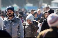 Pictured: Migrants at the camp Thursday 03 March 2016<br /> Re: Migrants have closed off the railway track at the Greek Fyro Macedonian border in Idomeni, Greece,