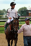 LOUISVILLE, KY -JUNE 04: Alsvid (Officer x Reagle Mary, by Afternoon Deelites) ridden by Chris Landeros,  after winning the G3 Aristides Stakes at Churchill Downs, Louisville, Kentucky. Alsvid is owned by Black Hawk Stable (James Rogers) and trained by Chris A. Hartman. (Photo by Mary M. Meek/Eclipse Sportswire/Getty Images)