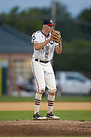 High Point-Thomasville HiToms starting pitcher Ryan Cusick (17) (Wake Forest) looks to his catcher for the sign against the Wilson Tobs at Finch Field on July 17, 2020 in Thomasville, NC. The Tobs defeated the HiToms 2-1. (Brian Westerholt/Four Seam Images)