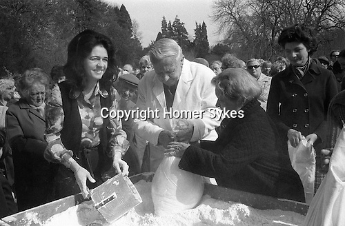 Mrs Anne Denise Loudon (nee Doughty-Tichborne) Ladies Day March 25th, Distribution of the Tichborne Dole, Tichborne, Hampshire, England 1974.