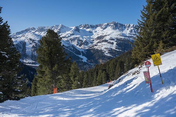 Rendl Ski Area with St Anton behind, Arlberg, Austria,