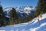 Rendl Ski Area with St Anton behind, Arlberg, Austria,