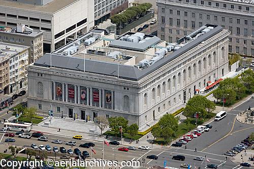 aerial photograph of the Asian Art Museum, Civic Center, San Francisco, California