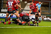 21st August 2020; Kingsholm Stadium, Gloucester, Gloucestershire, England; English Premiership Rugby, Gloucester versus Bristol Bears; Semi Radradra of Bristol gets ready to touch down to score a try