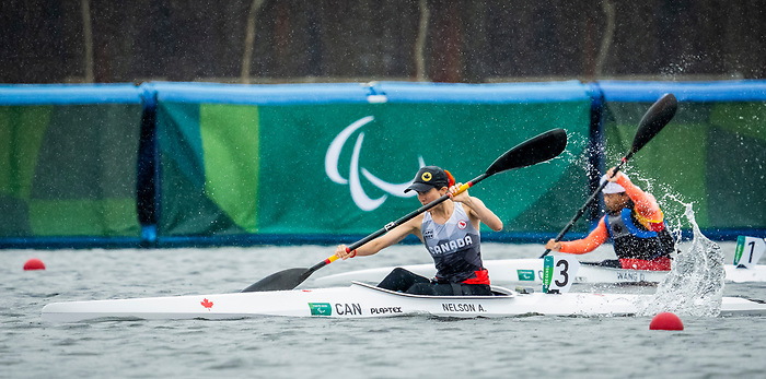 Andrea Nelson, Tokyo 2020  -  Para Canoe // Para canoë.<br /> Andrea Nelson competes in the KL2 heats at the Sea Forest Waterway // Andrea Nelson participe aux manches KL2 sur la voie navigable Sea Forest. 09/09/2021.
