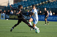 Formiga (left) extends to kick the ball against Cristiane (right). FC Gold Pride tied the Chicago Red Stars 1-1 at Buck Shaw Stadium in Santa Clara, California on June 7th, 2009.