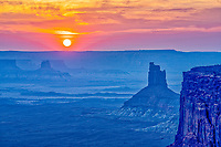 Sunset at Candlestick Butte, Canyonlands National Park, Utah. Green River  Island int he Sky