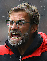 Liverpool manager Jurgen Klopp shouts in frustration on the touchline during the Barclays Premier League match between Swansea City and Liverpool played at the Liberty Stadium, Swansea on 1st May 2016