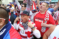 Seattle, WA - Thursday June 16, 2016: USA fans march to the stadium prior to a Copa America Centenario quarterfinal match between United States (USA) and Ecuador (ECU) at CenturyLink Field.