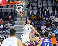 30th September 2021; Madrid, Spain:  Euroleague Basketball, Real Madrid versus Anadolu Efes Istanbul;  Sergio Llull of team Real Madrid lays up for 2 points during the Matchday 1 between Real Madrid and Anadolu Efes Istanbul