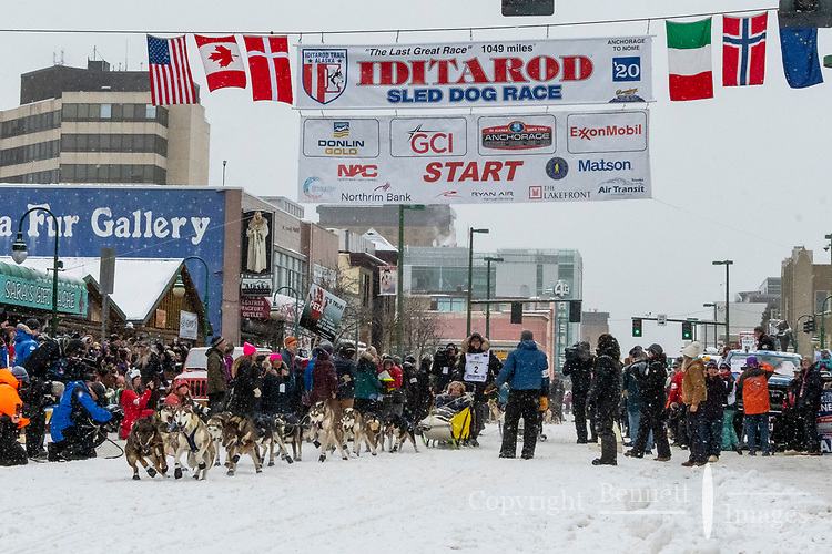 Martin Massicotte and team leave the ceremonial start line with an Iditarider and handler at 4th Avenue and D street in downtown Anchorage, Alaska on Saturday March 7th during the 2020 Iditarod race. Photo copyright by Cathy Hart Photography.com