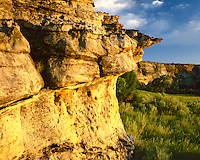 Evening light on the sandstone cliffs in Picture Canyon; Comanche National Grassland, CO