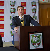 Mike MacIntyre, with San Jose State at the Bay Area College Football Media Day/Luncheon at the Hotel Nikko in San Franciscofor Kraft Flight Hunger Bowl on July 30.2012. ( Photo by Norbert von der Groeben ) .