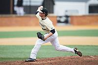 Wake Forest Demon Deacons relief pitcher Griffin Roberts (43) delivers a pitch to the plate against the Georgia Tech Yellow Jackets at David F. Couch Ballpark on March 26, 2017 in  Winston-Salem, North Carolina.  The Demon Deacons defeated the Yellow Jackets 8-4.  (Brian Westerholt/Four Seam Images)