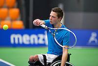 Rotterdam, Netherlands, December 19, 2015,  Topsport Centrum, Lotto NK Tennis, Wheelchair Junior championships, Ruben Spaargaren  (NED)<br /> Photo: Tennisimages/Henk Koster