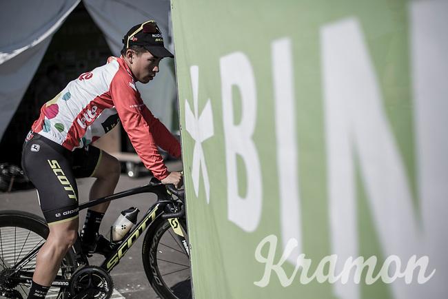 Caleb Ewan (AUS/Mitchelton Scott) wearing the red jersey as leader in the point classification. <br /> <br /> Binckbank Tour 2018 (UCI World Tour)<br /> Stage 6: Riemst (BE) - Sittard-Geleen (NL) 182,2km